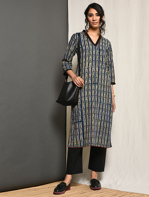 RIZWANNA - Indigo Block-printed Cotton Kurta with Gota