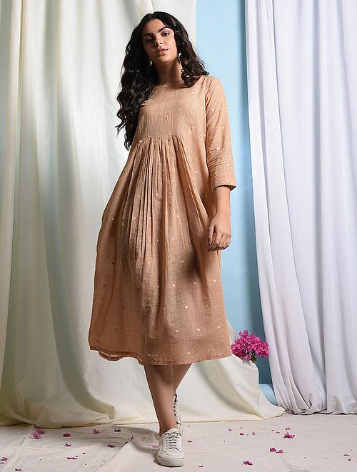BELLISSIMA - Peach Handloom Cotton Jamdani Dress