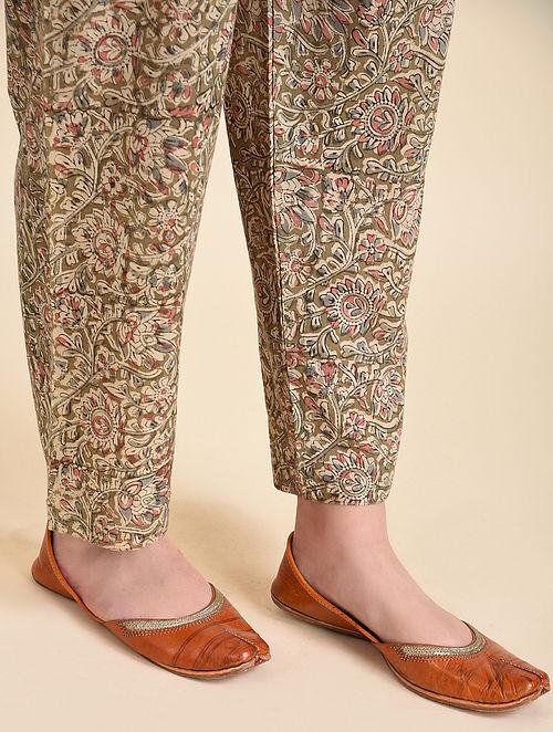 Multicolor Tie-up Waist Block Printed Kalamkari Pants