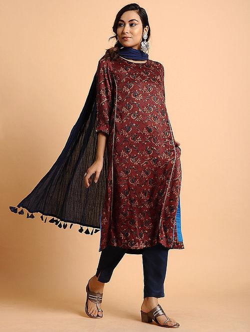 Red Natural Dyed Ajrakh Printed Modal Kurta