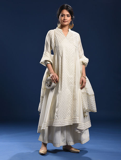 COLA - Ivory Silk Cotton Cutwork Angrakha with Gota