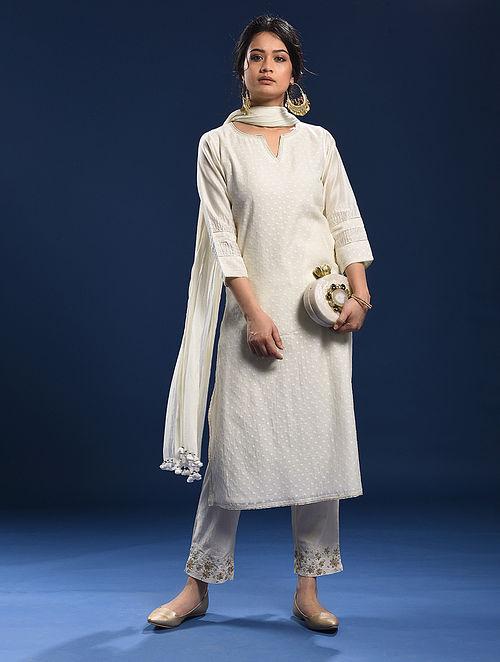 GANPATIPULE - Ivory Silk Cotton Cutwork Kurta with Gota