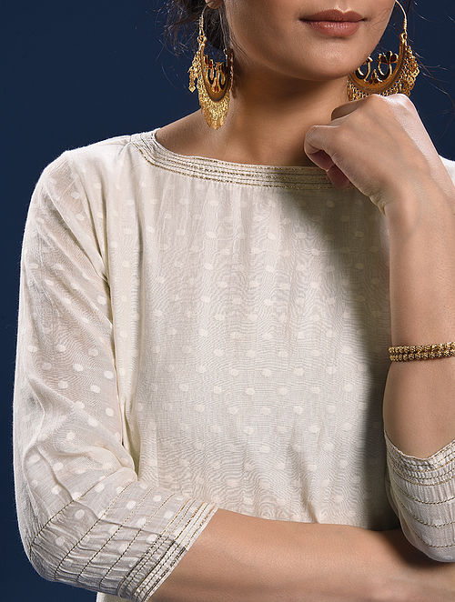 BEKAL - Ivory Silk Cotton Cutwork Kurta with Gota