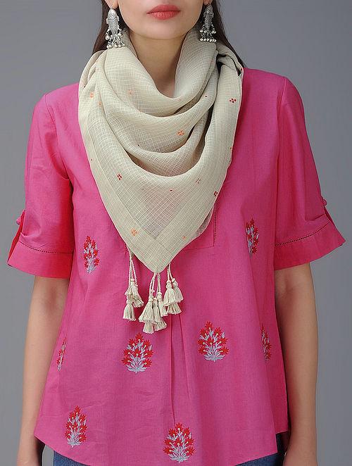 Beige Hand-Embroidered Kota Doria Cotton Mul Stole