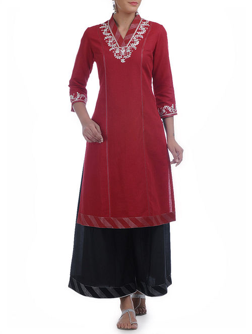 Red-Silver Gota Patti Zari & Tagai Detailed V-Neck Cotton-Linen Kurta