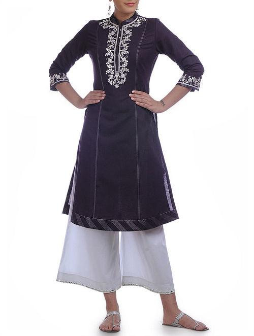Aubergine-Silver Gota Patti Zari & Tagai Detailed Mandarin Collar Cotton-Linen Kurta