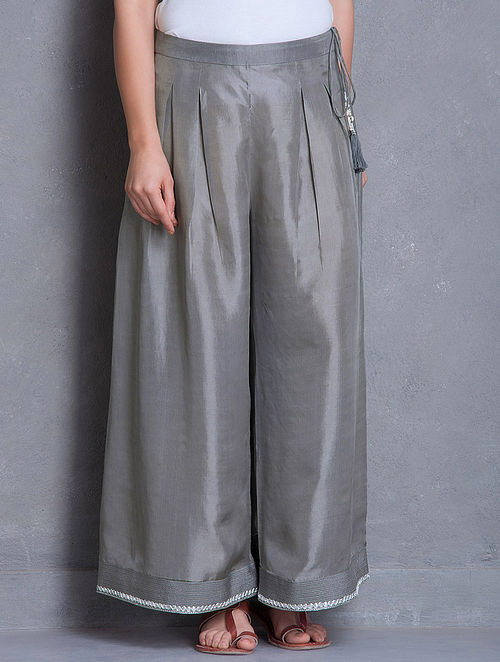 Grey-Silver Gota Patti & Zari Detailed Box Pleated Tie-Up Detailed Silk Palazzos