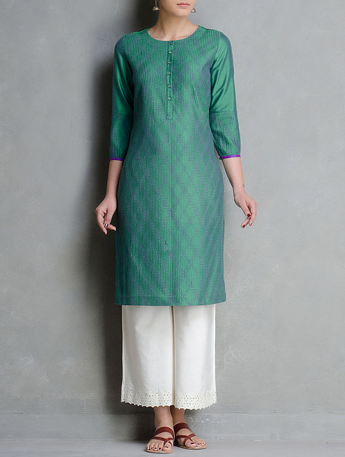 Green-Purple Pintuck Cotton Katan Silk Kurta with Pintuck Detail Sleeve