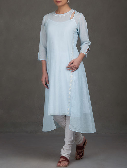 Blue Mukaish and Thread Embroidered Asymmetric Mul Kurta with Cotton Slip (set of 2)-S