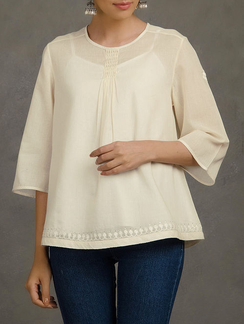 Beige Front Pleated Mukaish and Thread Embroidered Mul Short Top with Cotton Slip (set of 2)-S