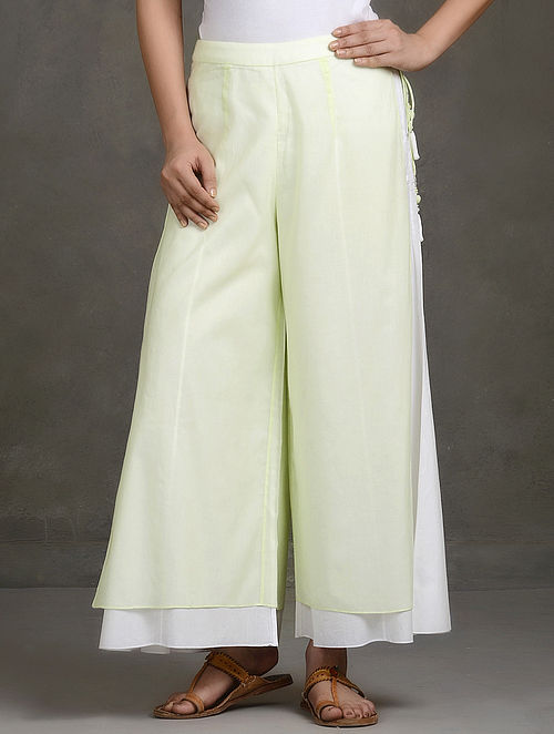 Green Layered Tie-Up Cotton Palazzos