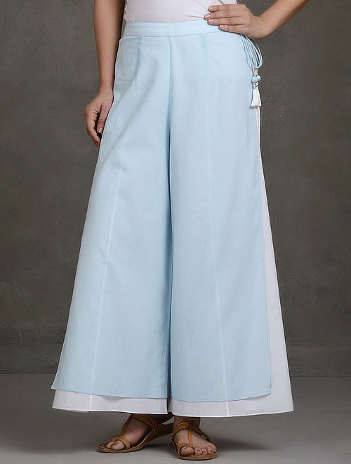 Blue Layered Tie-Up Cotton Palazzos