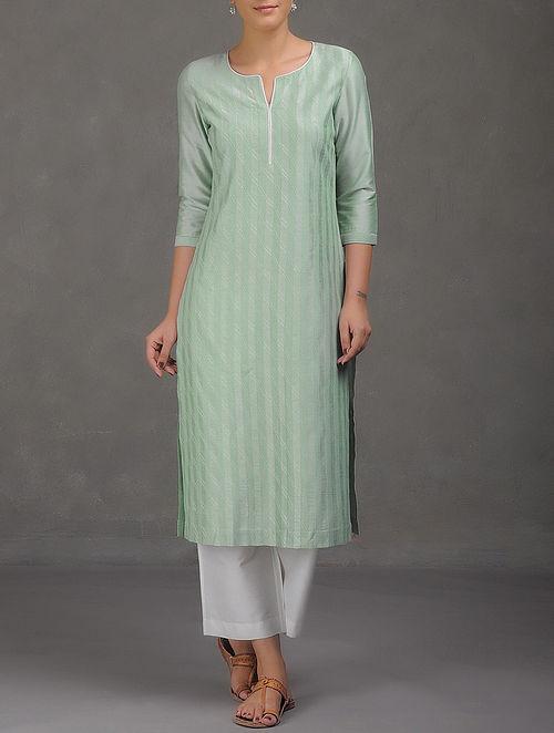 Green Bias Tagai Embroidered Pintuck Cotton Kurta