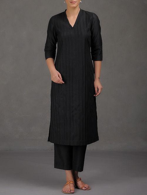 Black Pintuck & Embroidered V-Neck Cotton Kurta