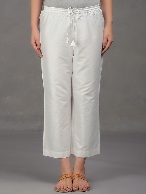White Elasticated Tie-Up Waist Cotton Pants
