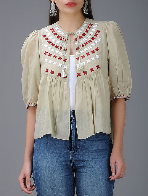 Beige Hand-Embroidered Cotton Mul Kedia Top with Gathers
