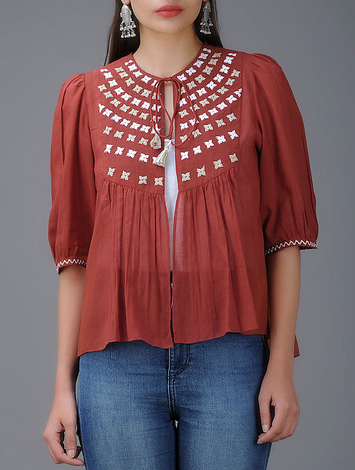 Red Hand-Embroidered Cotton Mul Kedia Top with Gathers