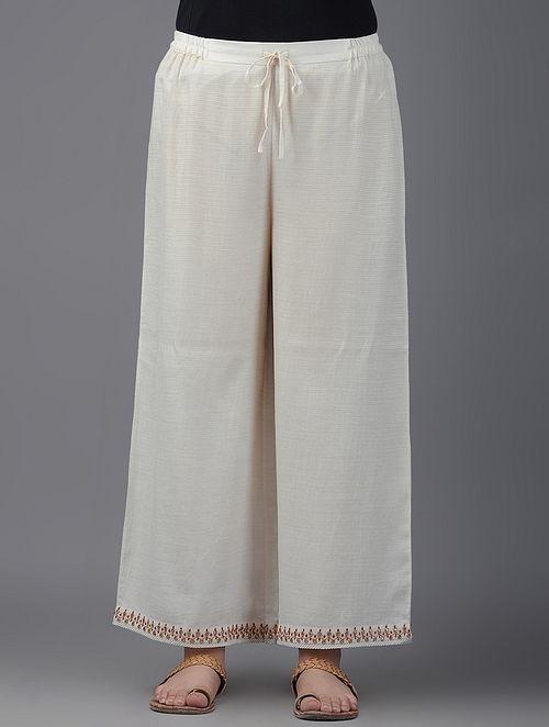 Ivory Tie-up Waist Cotton Palazzos with Gota Patti Border