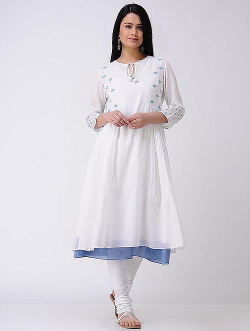 Ivory-Blue Hand-embroidered Cotton Kurta (Set Of 2)