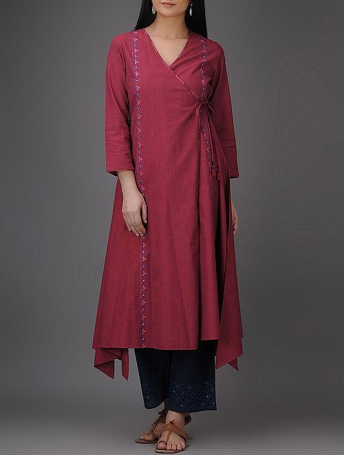 Maroon Thread-embroidered Asymmetrical Mangalgiri Cotton Angrakha with Mirror Work