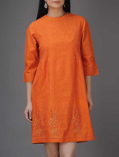 Orange Thread-embroidered Pintuck Mangalgiri Cotton Dress with Mirror Work