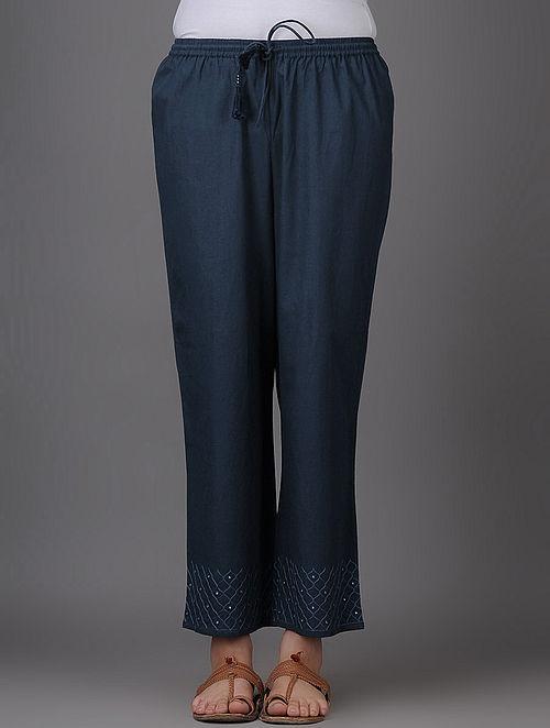 Navy Blue Thread-embroidered Elasticated Tie-up Waist Mangalgiri Cotton Pants with Mirror Work