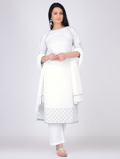 Ivory Linen Kurta With Kantha work