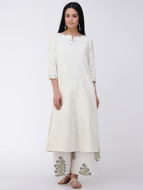 Ivory Kantha-embroidered Cotton Khadi Kurta with Mirror Work