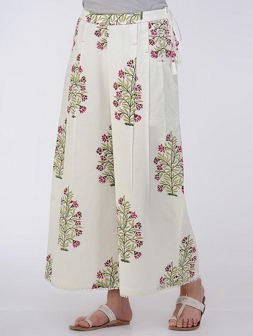 Ivory-Pink Elasticated Waist Printed Cotton Palazzos
