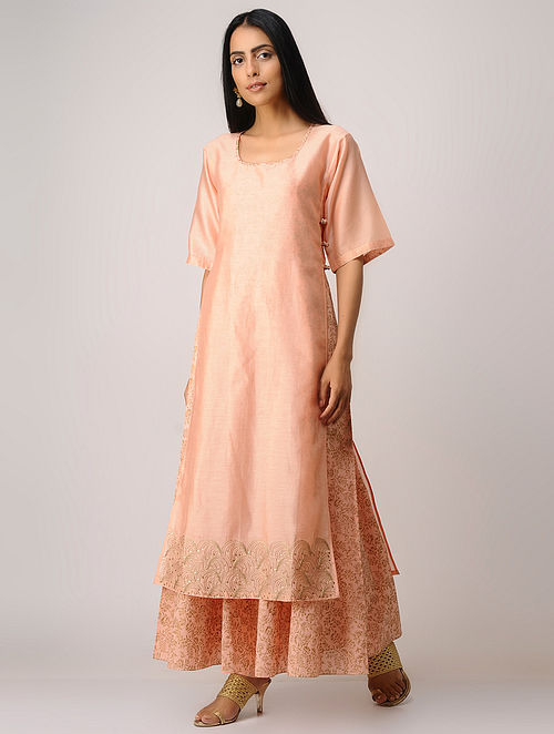 Peach Block-printed Zari Emroidered Chanderi Kurta with Slip (Set of 2)