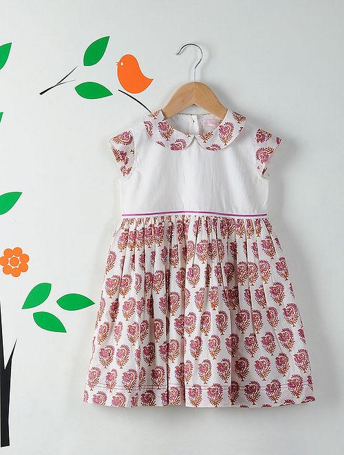 White-Pink Peter Pan Collar Block Printed Cotton Dress