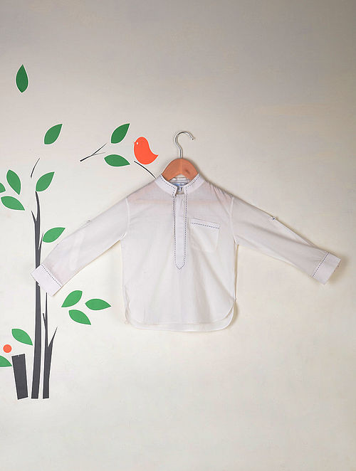 White-Blue Roll Up Sleeves Kantha Stitch Cotton Short Kurta