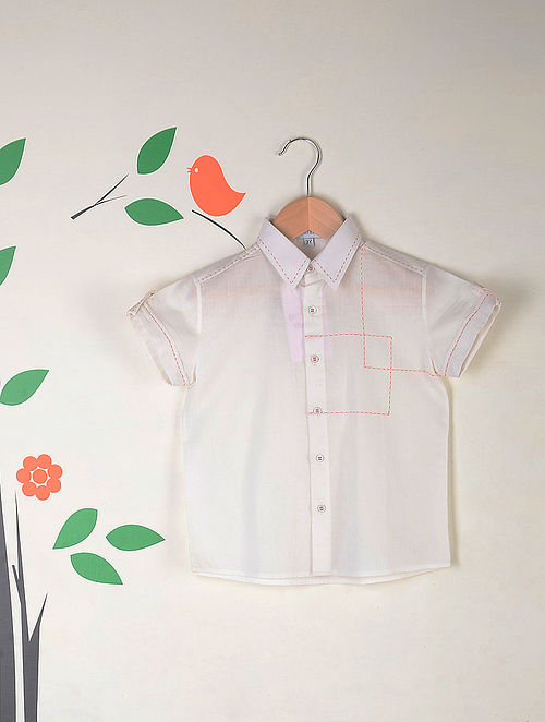 White Half Sleeves Kantha Stitch Cotton Shirt