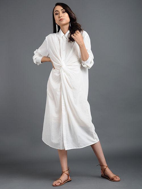 d0dc222c97ced Buy White Solid Murshidabad Khadi Cotton Shirt Dress Online at ...
