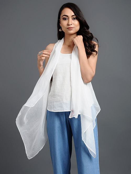 White Solid Cotton Overlay