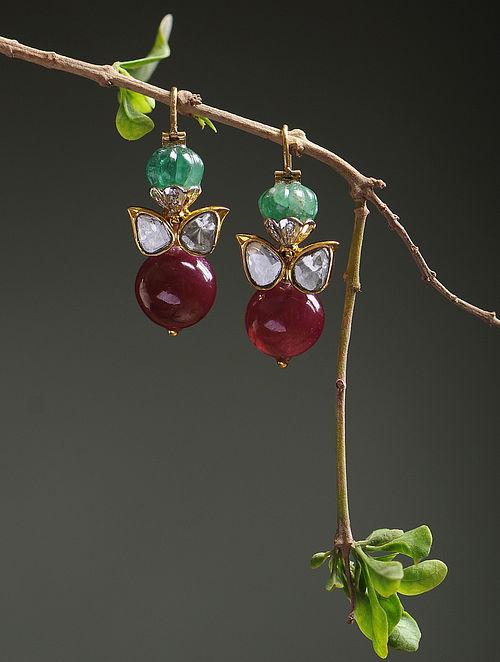 Emerald and Ruby Polki Diamond Gold Earrings
