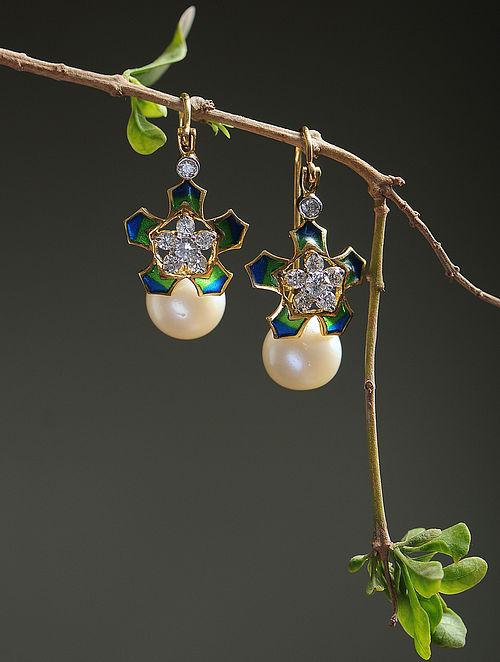 Green-Blue Enameled Diamond Gold Earrings