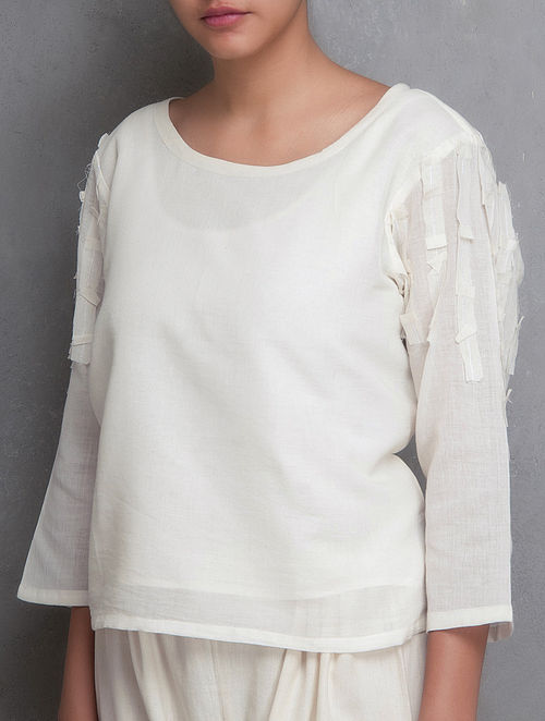 White Embroidered Surface Embellished Cotton Crop Top