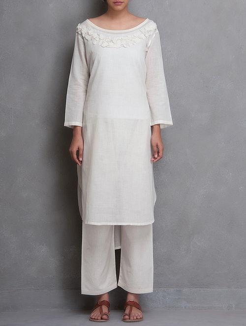 White Embroidered Surface Embellished Cotton Kurta