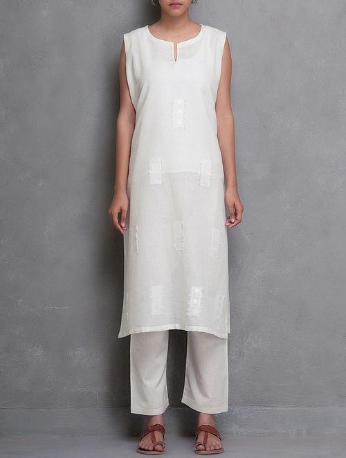White Sleeveless Embroidered Surface Embellished Cotton Kurta