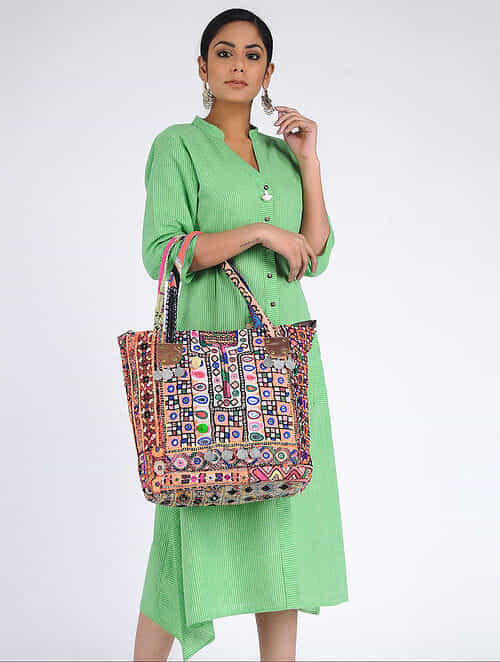 02777c9617a Buy Multicolored Thread-Embroidered Tote with Mirrors and Coins Online at  Jaypore.com