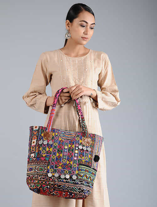 48052c44fd5 Buy Multicolored Thread-Embroidered Tote with Mirrors And Coins Online at  Jaypore.com