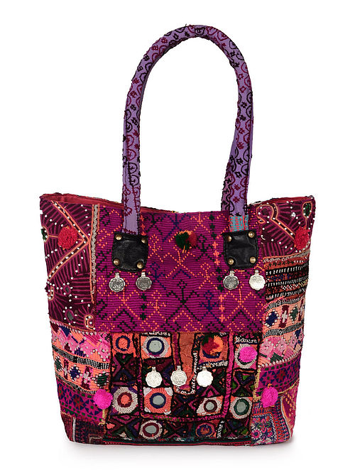 Multicolored Canvas shoulder Tote Bag with Colorful Embroidered Tribal Patter...