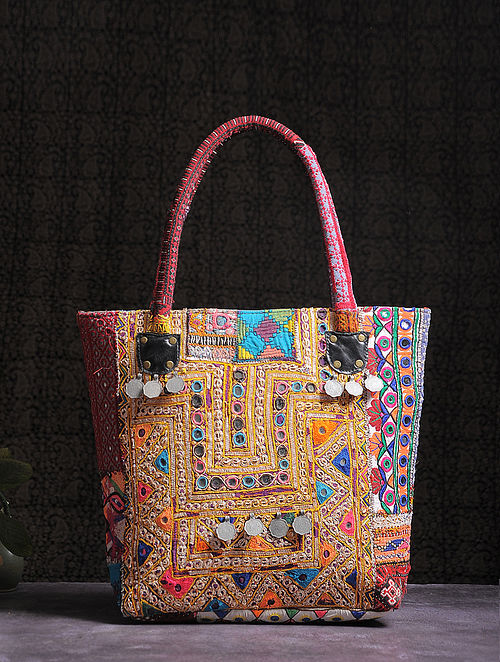 33e4b4bceb0 Buy Multicolored Thread-embroidered Tote with Mirrors and Coins Online at  Jaypore.com