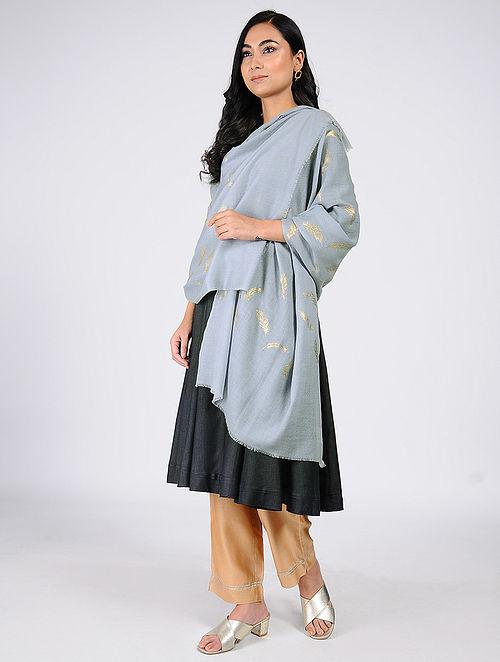 Grey Gold Leaf Khari-Printed Wool Shawl