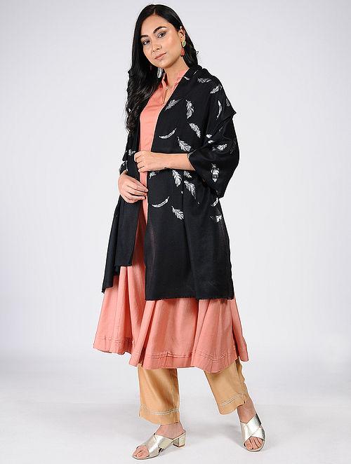 Black Silver Leaf Khari-Printed Wool Shawl