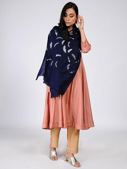 Blue Silver Leaf Khari-Printed Wool Shawl
