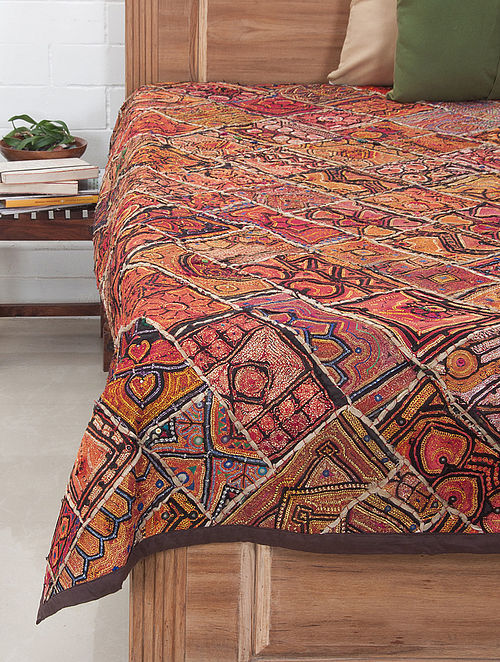 Multi-Color Zari Embroidered Bed Cover 92in x 71in