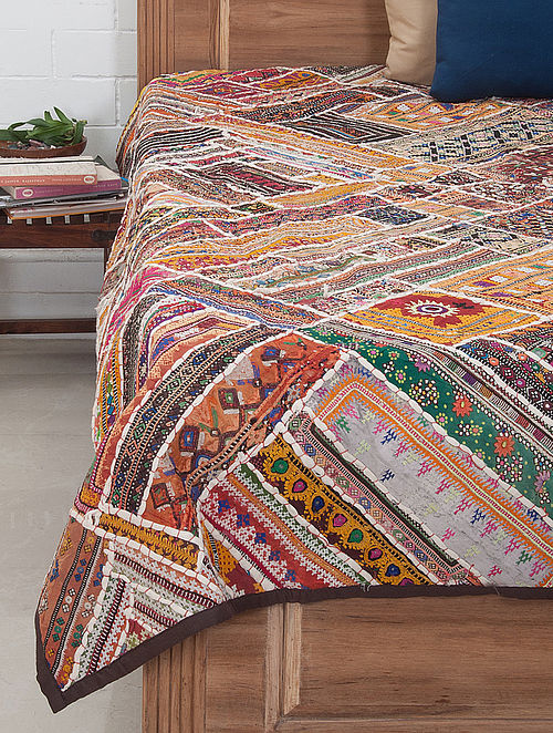 Multi-Color Thread Embroidered Bed Cover 88in x 68in