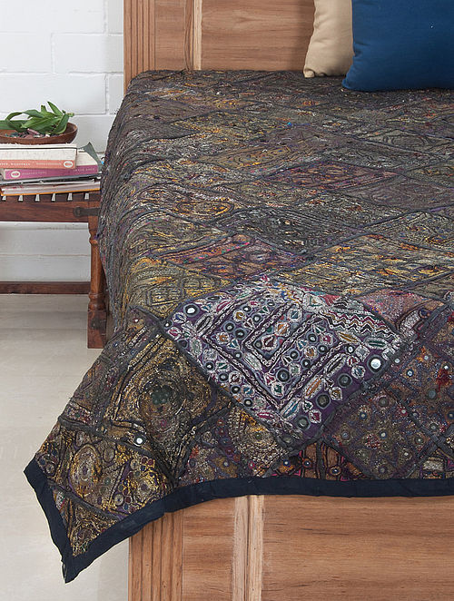 Multi-Color Zari Embroidered Bed Cover 90in x 71in